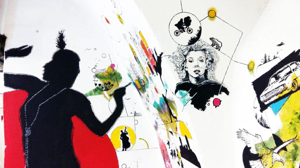 """Détail de la fresque intitulée """"connexions"""" réalisée à l'acrylique pour l'équipe de la Cour des Consuls Hôtel & Spa à Toulouse par Christophe Moulinier."""