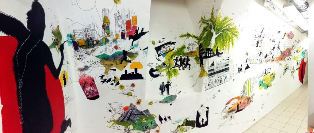 """Vue d'ensemble de la fresque intitulée """"connexions"""" réalisée à l'acrylique pour l'équipe de la Cour des Consuls Hôtel & Spa à Toulouse par Christophe Moulinier."""