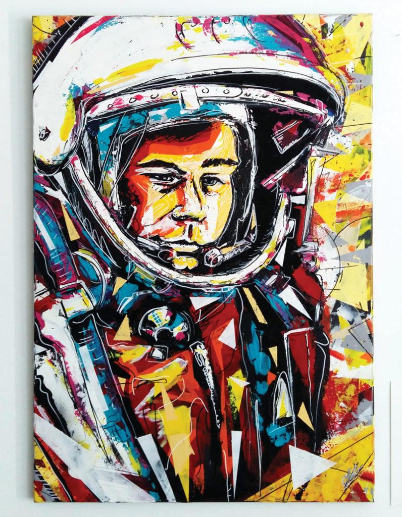 """Tableau intitulé """"défragmentation cosmique"""" réalisé à l'acrylique, bombe aérosol, marqueur peinture par Christophe Moulinier."""