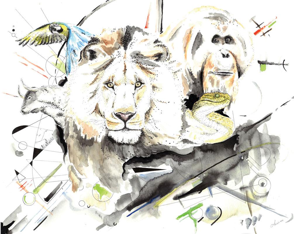 """Dessin (en partie pointillisme) intitulé """"VI (Vertebrata)"""" réalisé au stylo à l'encre de Chine et à l'aquarelle par Christophe Moulinier."""
