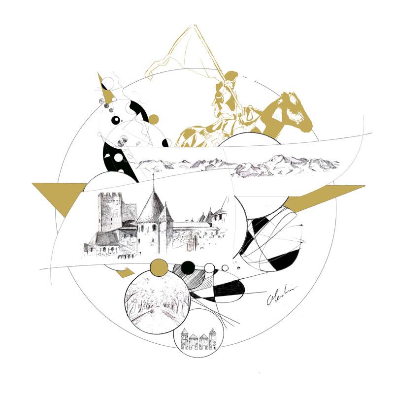 Création, visuel graphique représentant l'Hôtel de la Cité à Carcassonne du Groupe Cité Hôtels par Christophe Moulinier.