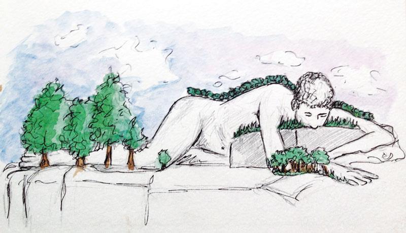 """Dessin intitulé """"je pousse dans un songe"""" réalisé au crayon (modèle vivant), stylo à l'encre de Chine, aquarelle par Christophe Moulinier."""