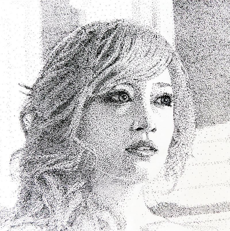 Pointillisme, dessin d'Ayumi Hamasaki réalisé au stylo-bille par Christophe Moulinier.