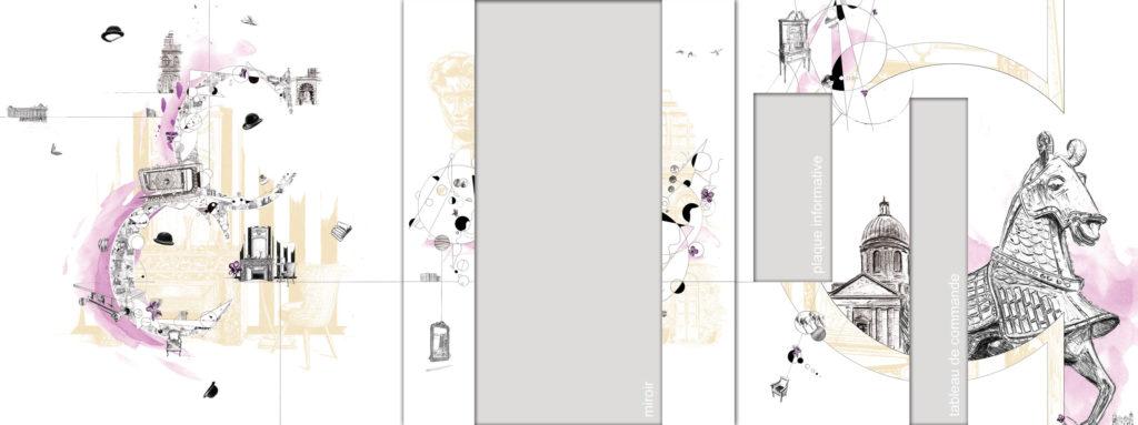 Créations graphiques pour le projet de l'ascenseur de la Cour des Consuls Hôtel & Spa à Toulouse par Christophe Moulinier.