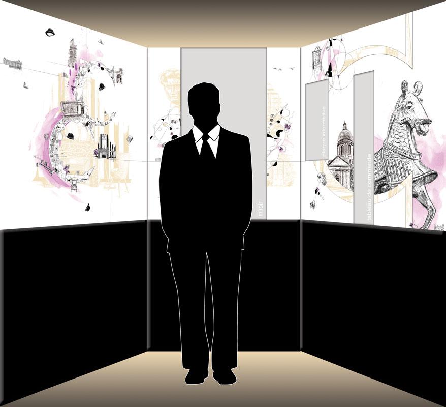 Vue d'ensemble du projet de l'ascenseur de la Cour des Consuls Hôtel & Spa à Toulouse par Christophe Moulinier.