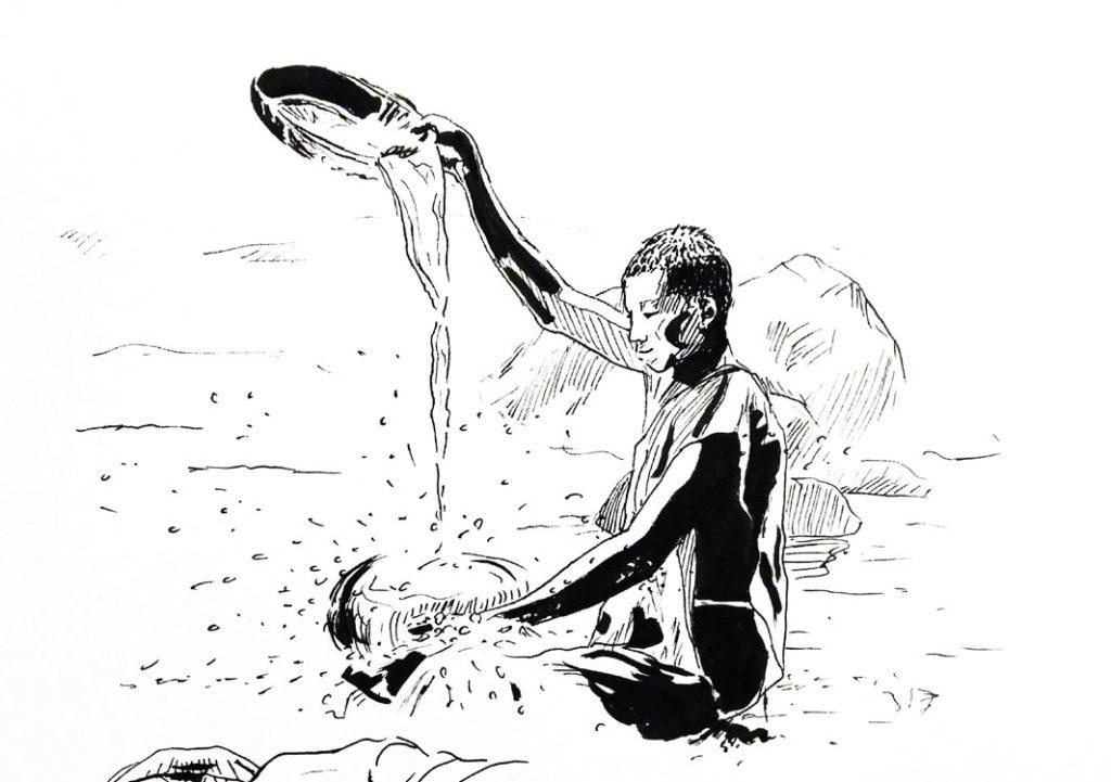 """""""Élément"""", dessin réalisé au stylo encre de Chine par Christophe Moulinier représentant un moine bouddhiste dans une rivière"""