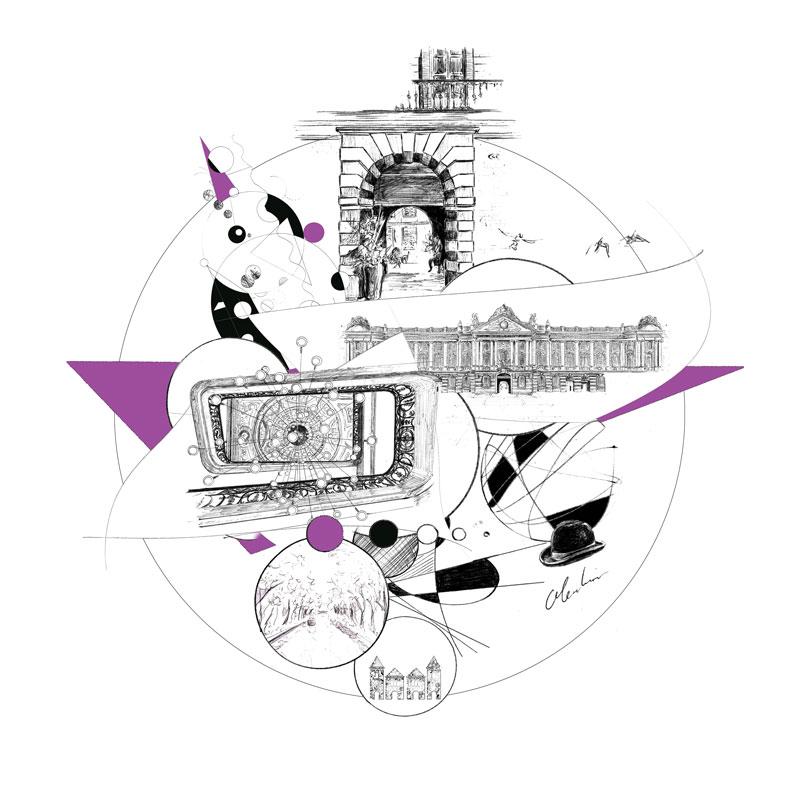 """""""La Cour des Consuls Hôtel & Spa, Toulouse"""", création graphique réalisée numériquement à partir de dessins au stylo-bille par Christophe Moulinier pour le Groupe Cité Hôtels"""