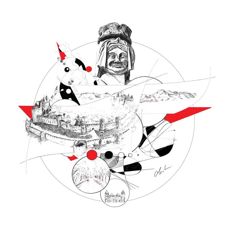 """""""Hôtel du Donjon, Carcassonne"""", création graphique réalisée numériquement à partir de dessins au stylo-bille par Christophe Moulinier pour le Groupe Cité Hôtels"""