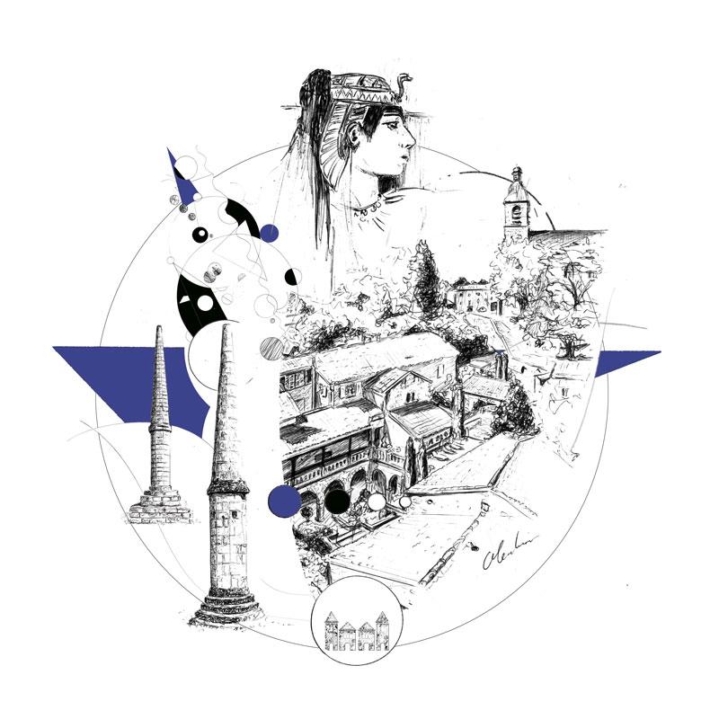 """""""Le Viguier du Roy, Figeac"""", création graphique réalisée numériquement à partir de dessins au stylo-bille par Christophe Moulinier pour le Groupe Cité Hôtels"""