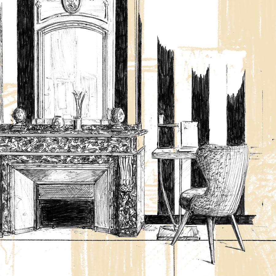 Détail d'un des trois visuels réalisés pour l'ascenseur de la Cour des Consuls à Toulouse, visuels crées numériquement à partir de dessins au stylo-bille représentant divers éléments de l'univers de l'hôtel et de la ville de Toulouse