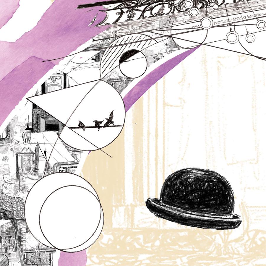 Détails des trois visuels réalisés pour l'ascenseur de la Cour des Consuls à Toulouse, visuels crées numériquement à partir de dessins au stylo-bille représentant divers éléments de l'univers de l'hôtel et de la ville de Toulouse