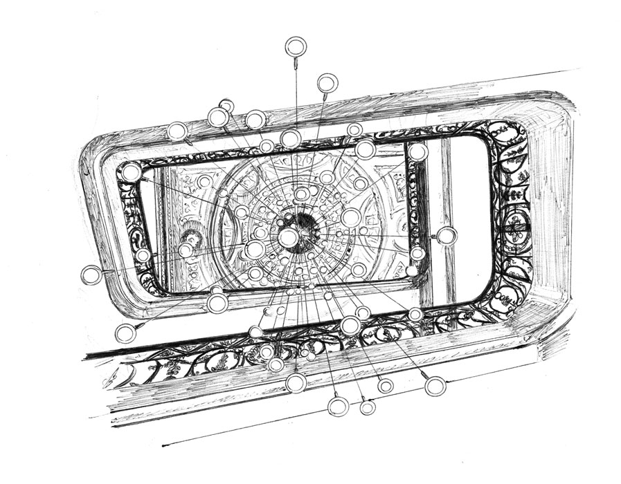 Dessin au stylo-bille représentant le lustre et l'escalier de l'hôtel la Cour des Consuls de Toulouse, réalisé par Christophe Moulinier artiste peintre dessinateur