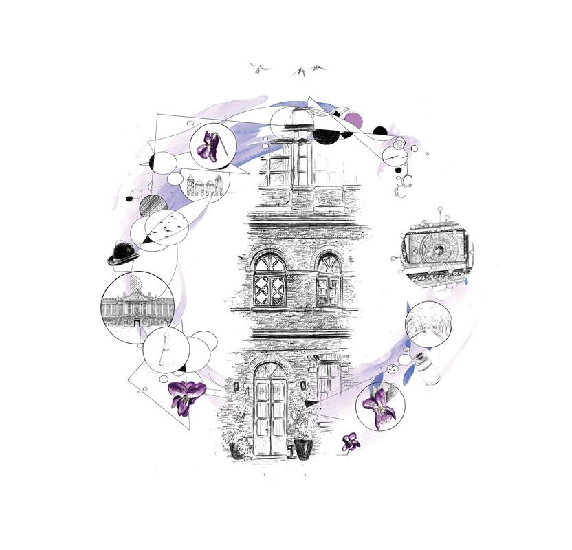 """""""Spa par Graines de Pastel, Toulouse"""", création graphique réalisée numériquement à partir de dessins au stylo-bille par Christophe Moulinier pour le Groupe Cité Hôtels"""