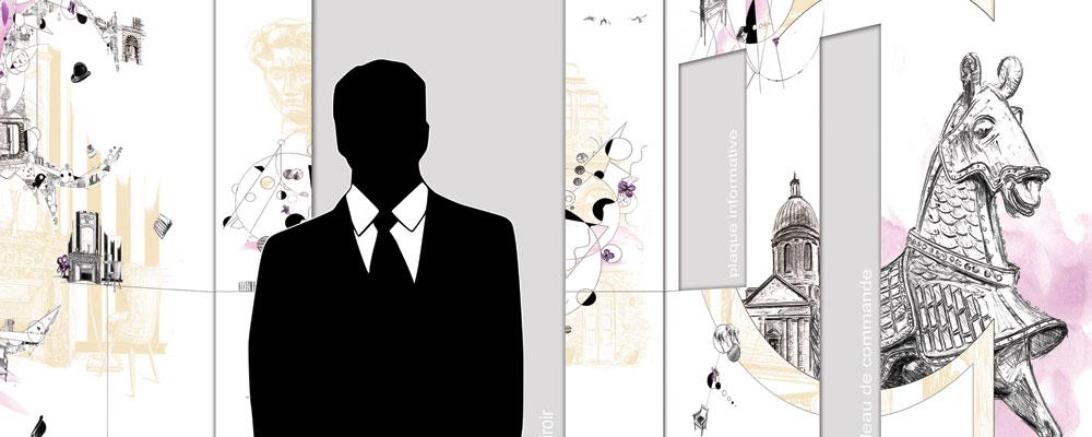 """Présentation de """"Visuel Ascenseur de la Cour des Consuls"""", visuel réalisé par Christophe Moulinier"""