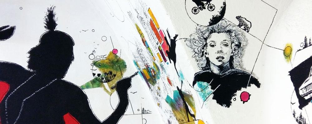 """Présentation de """"Connexions"""", fresque réalisée par Christophe Moulinier"""
