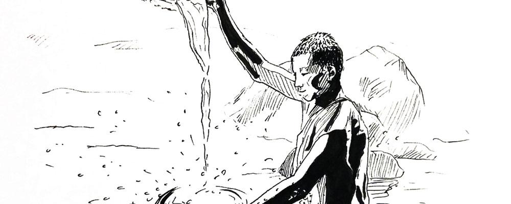 """Présentation de """"La Rivière"""", dessin réalisé par Christophe Moulinier"""