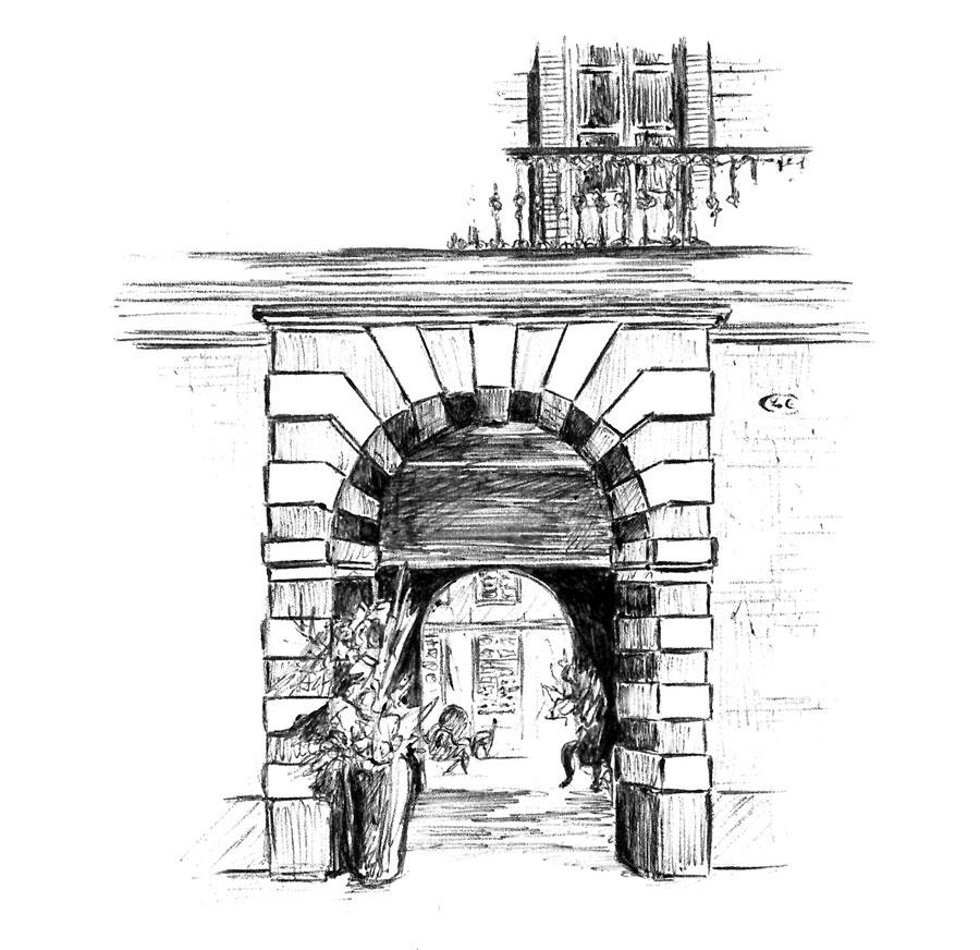 Diaporama dessins au stylo-bille réalisés pour l'ascenseur de la Cour des Consuls