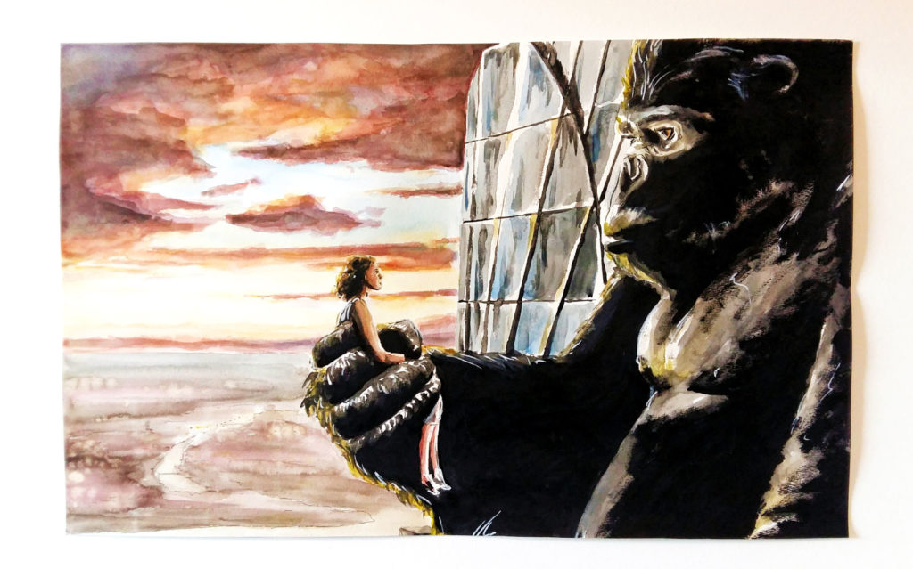 """Dessin intitulé """"Crépuscule"""", tiré du film """"King Kong"""" de 2005, réalisé à l'aquarelle, acrylique et stylo à encre de Chine."""