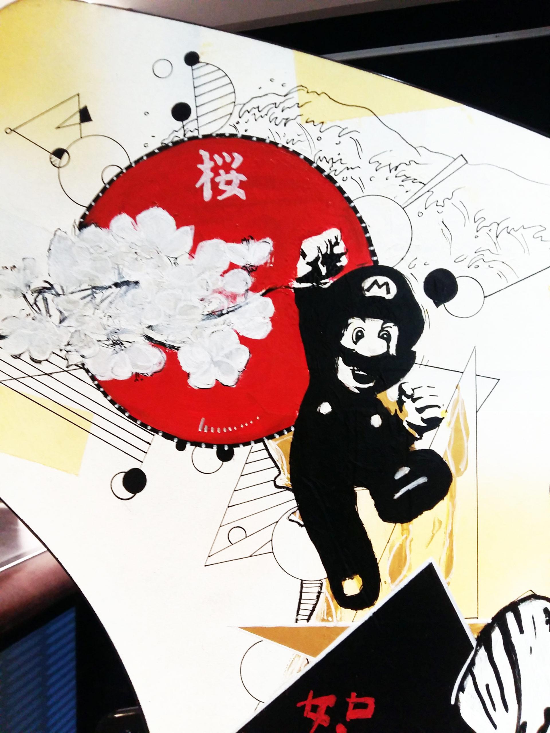 """Gros plan de la Borne d'Arcade """"Empire du Soleil Levant"""": Mario, fleurs de cerisier, La Grande Vague de Kanagawa d'Hokusai"""