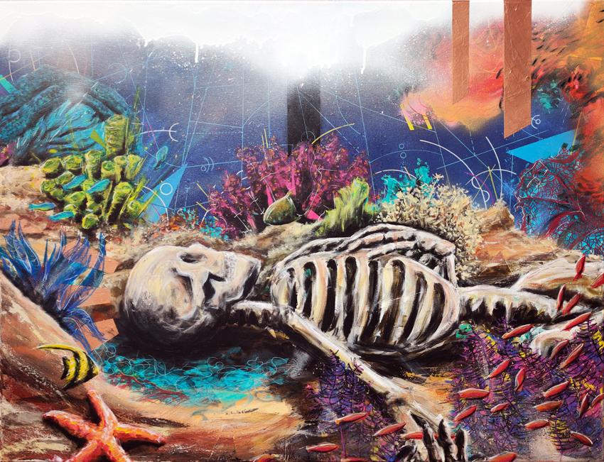"""Toile intitulée """"Z"""", thème numéro 4 du projet """"6VILISATION"""" de l'artiste peintre dessinateur Christophe Moulinier"""