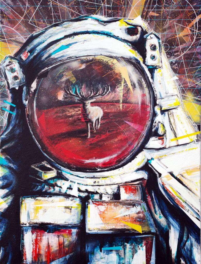 """Toile intitulée """"Contact"""", réalisée par Christophe Moulinier, artiste peintre dessinateur"""