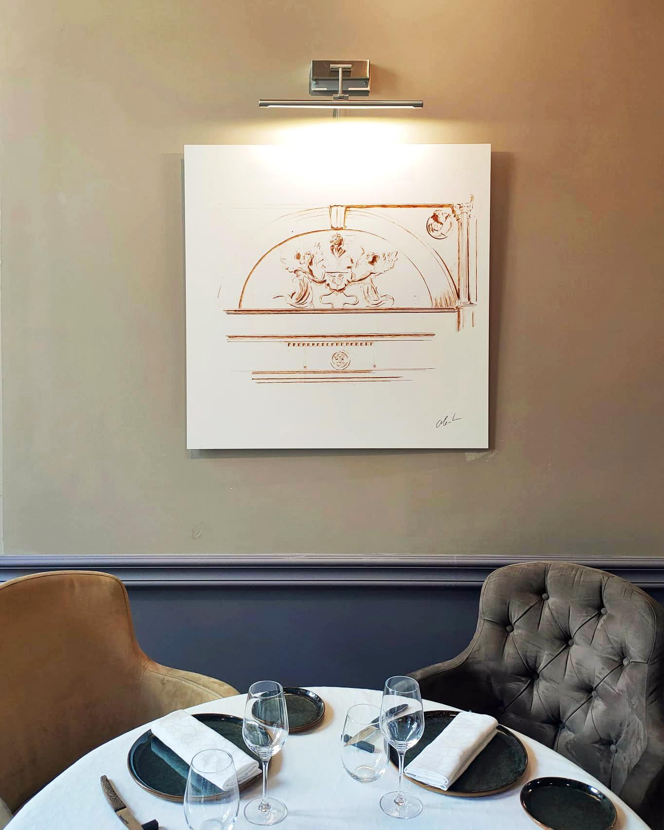 """Photographie du dessin intitulé """"La Cheminée du Cénacle"""" exposé au restaurant Le Cénacle de Toulouse"""