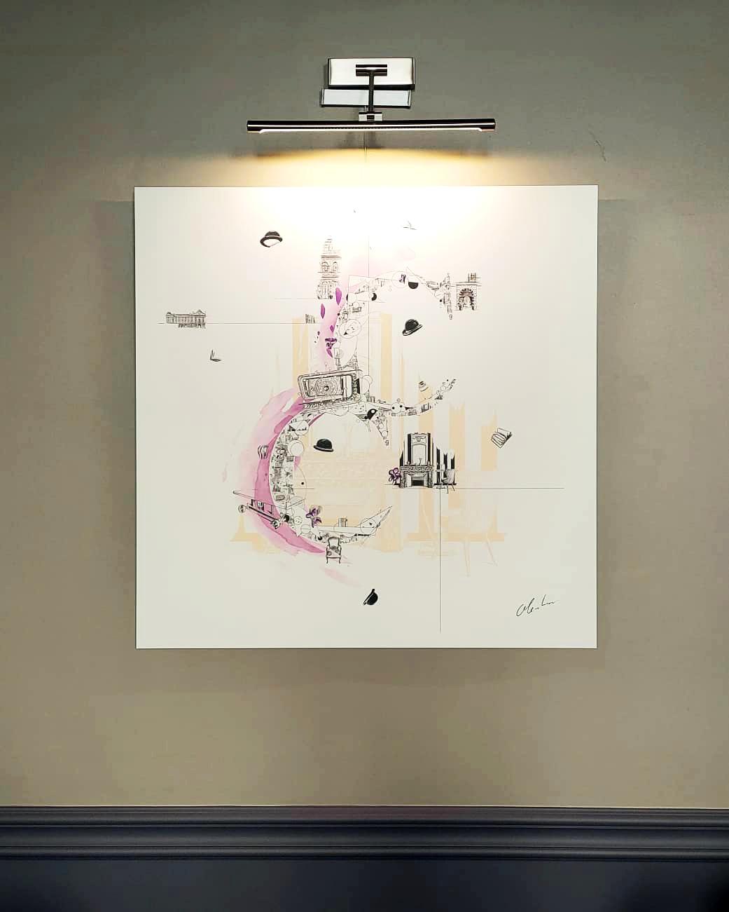 """Photographie du dessin intitulé """"Ascension 5 étoiles au stylo-bille"""" exposé au restaurant Le Cénacle de Toulouse"""