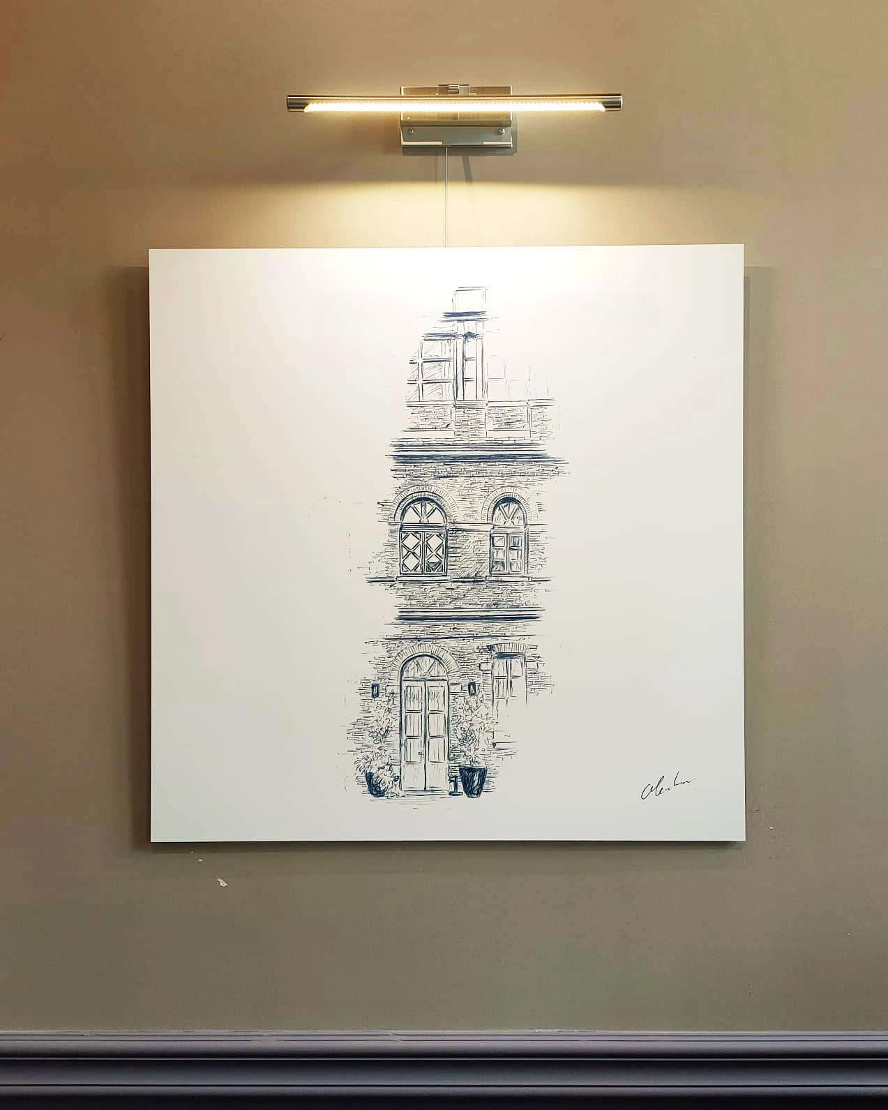 """Photographie du dessin intitulé """"La Façade du Spa"""" exposé au restaurant Le Cénacle de Toulouse"""