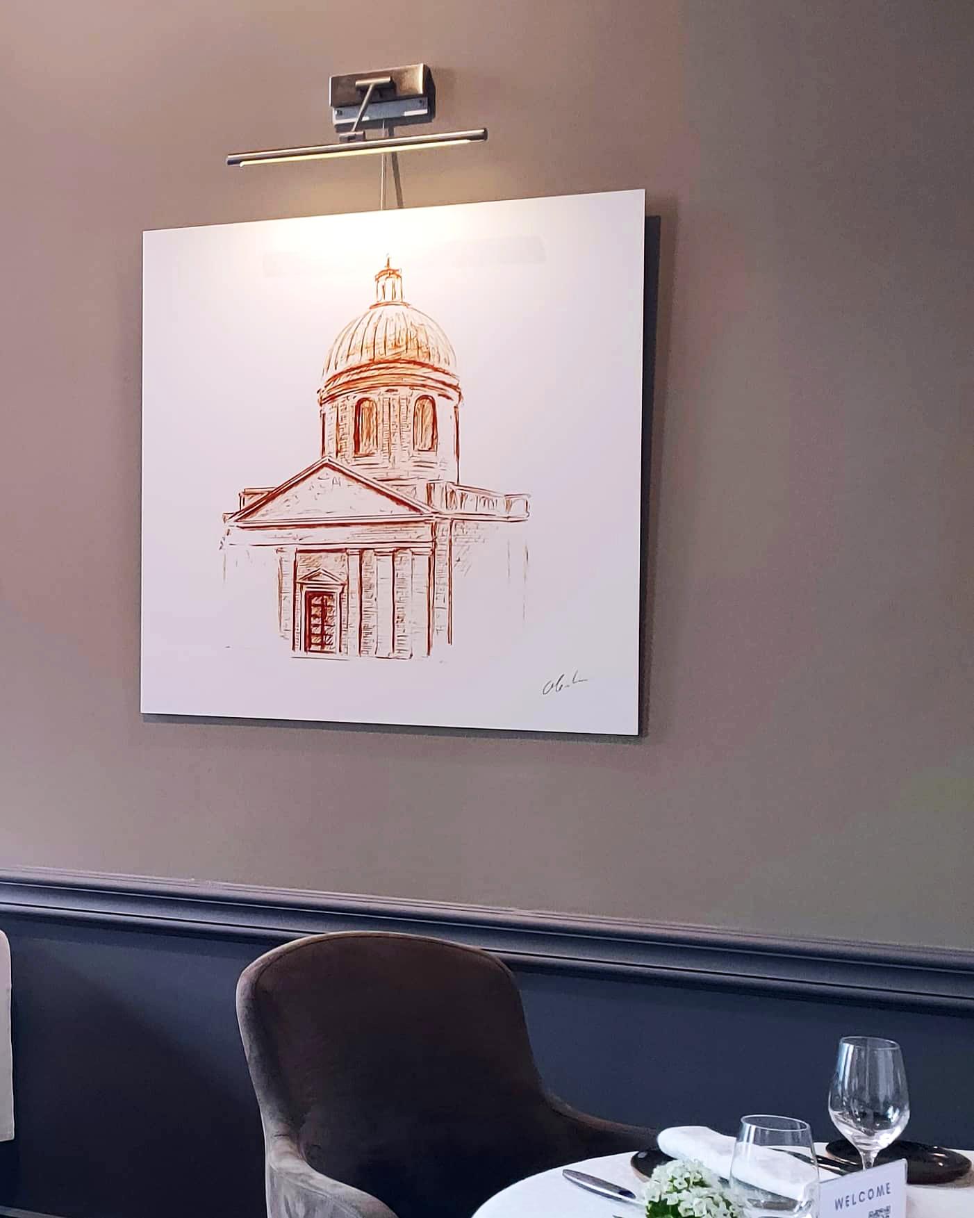 """Photographie du dessin intitulé """"Le Dôme de la Grave"""" exposé au restaurant Le Cénacle de Toulouse"""