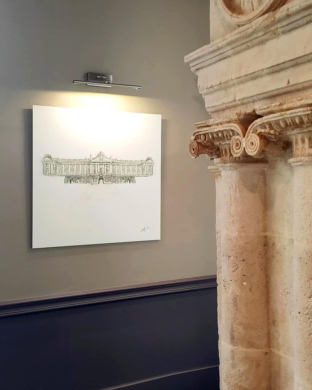 """Photographie du dessin intitulé """"Le Capitole de Toulouse"""" exposé au restaurant Le Cénacle de Toulouse"""
