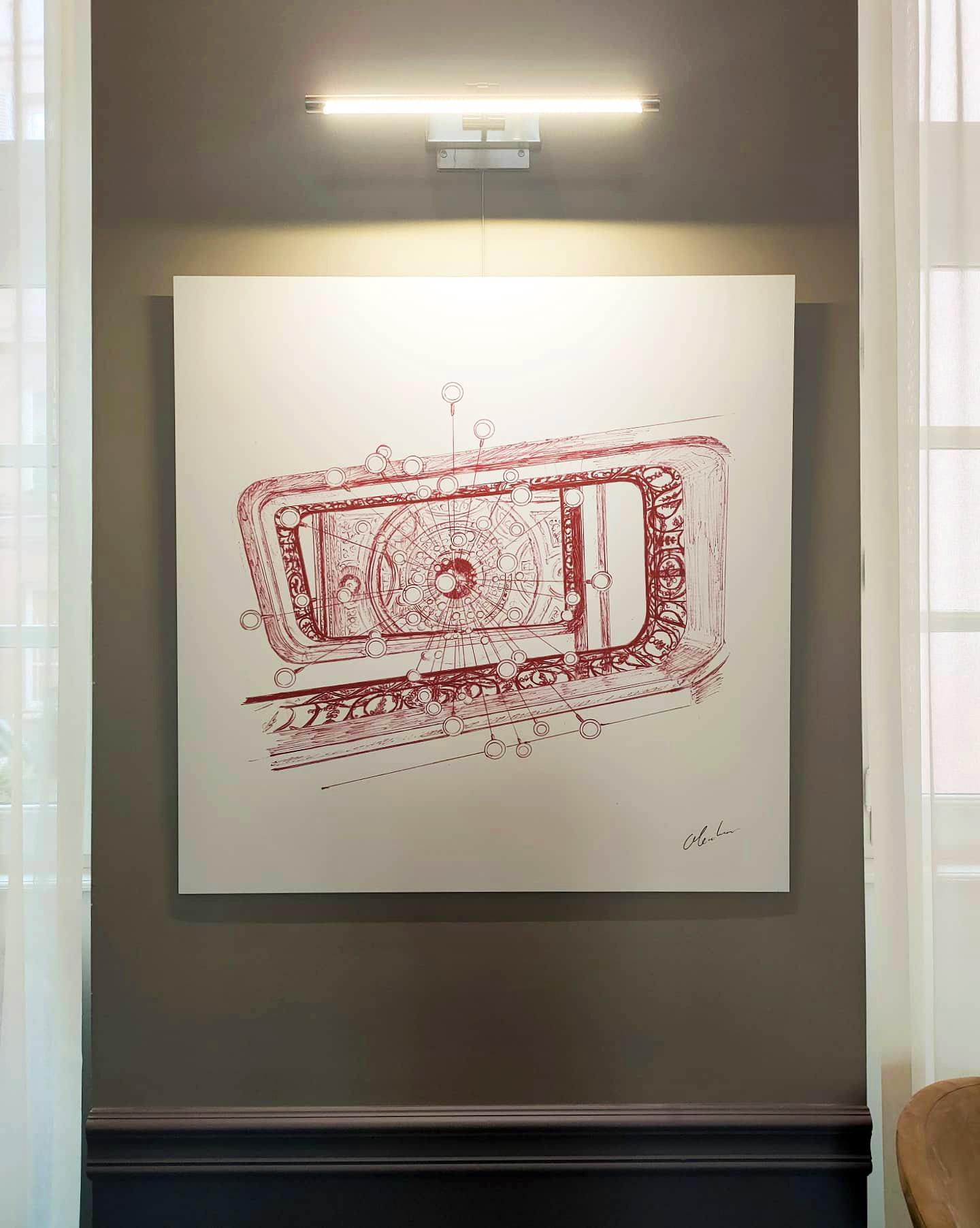 """Photographie du dessin intitulé """"Le Lustre de l'Escalier"""" exposé au restaurant Le Cénacle de Toulouse"""