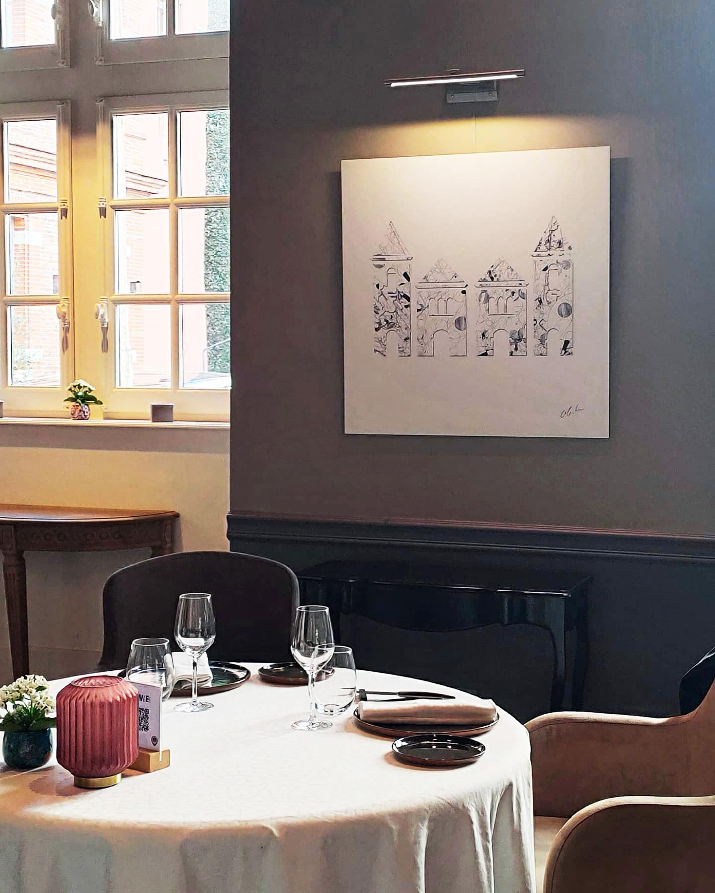 """Photographie du dessin intitulé """"Le groupe Cité Hôtels"""" exposé au restaurant Le Cénacle de Toulouse"""