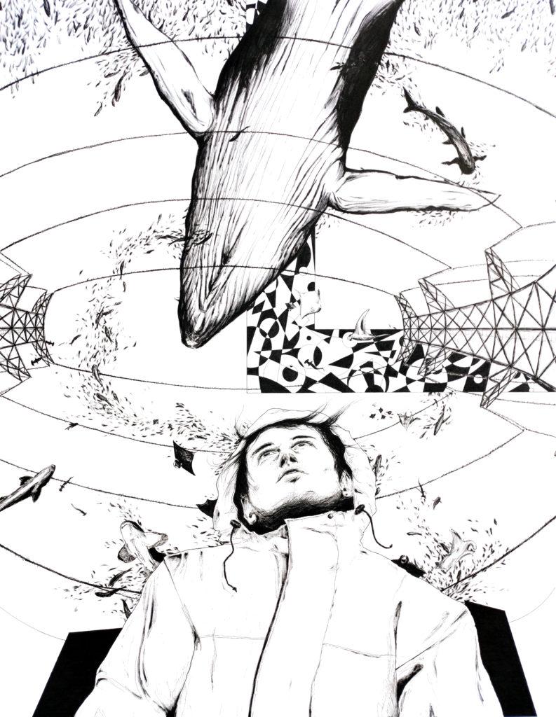 """""""Tsunami"""", dessin réalisé par Christophe Moulinier, artiste dessinateur"""